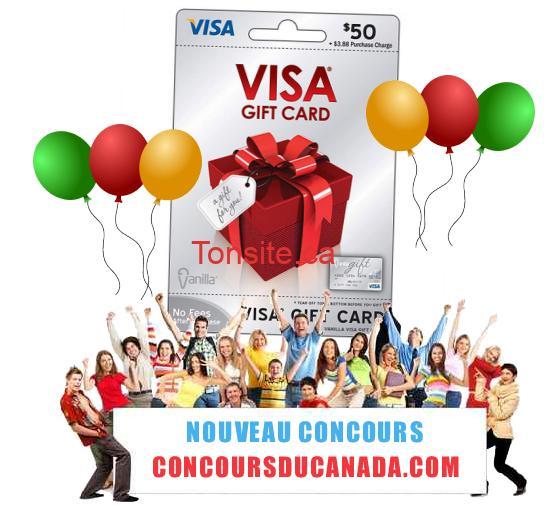 concours visa - Concours du canada: Gagnez une carte visa prépayée de 50$!