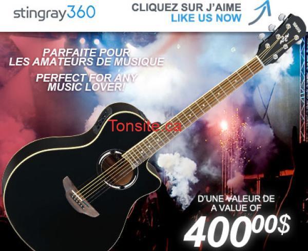 guitare stingray360 - Concours Stingray 360: Gagnez une guitare acoustique YAMAHA d'une valeur de 400$!