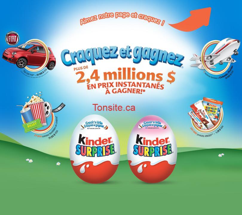 kinder - Concours Kinder Canada: Gagnez une Fiat 500 POP 2014 et 2 voyages pour 4 personnes à Orlando ou 1 de 228853 prix instantanés!
