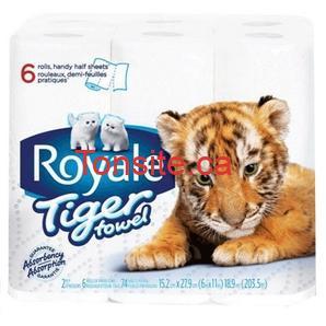 essuie tout royal tt - 6 rouleaux d'essuie-tout Tiger Towel de Royale à 1,86$ après coupon!