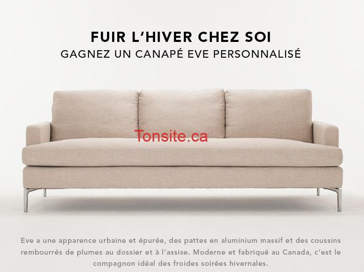 eve canape - Concours EQ3 Furniture + Accents: Gagnez un canapé EVE personnalisé (valeur de 2000$)!