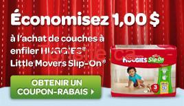 Photo of Coupon rabais de 1$ sur les couches à enfiler Huggies, Little Movers Slip-On!