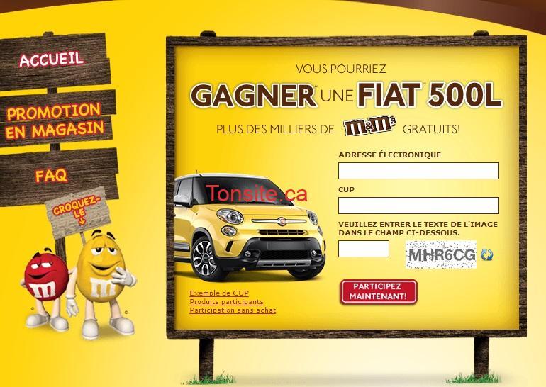 mm fiat - Concours M&M: Gagnez une des 3 Fiat 500 Sport 2013 (valeur de 24840$) ou 1 de 1000 prix secondaires!