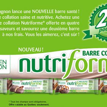nutriform adrien gagnon 350x350 - Coupon rabais (achetez-en une obtenez-en une gratuite) sur les barres collations Nutriforme Adrien Gagnon!