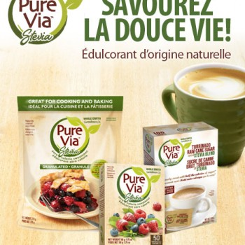 pure via 1 350x350 - Coupon rabais de 1$ sur n'importe quel format Pure Via
