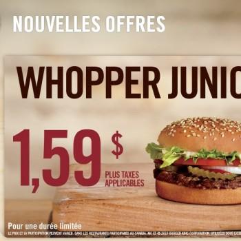 whopper junior 350x350 - Burger King: Whooper Junior à 1,59$ seulement!