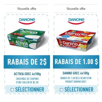 activia 350x350 - 3$ en coupon rabais sur Danone Activia Grec et Danino Grec 4 x 100g!
