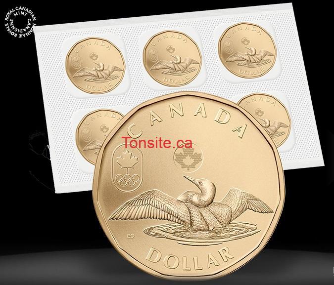 dollar 5 - Lot de 5 pièces de circulation de 1 $ - dollar porte-bonheur (2014) à 5$ ( pas de taxes + livraison gratuite)!