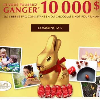 lindt 350x350 - Concours Lindt: Gagnez 10.000$ ou 1 des 10 prix consistant en du chocolat Lindt pour un an!