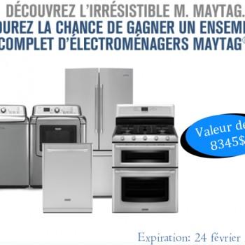 maytag1 350x350 - Concours Maytag: Gagnez un ensemble complet d'électroménagers Maytag (valeur de 8345$)!