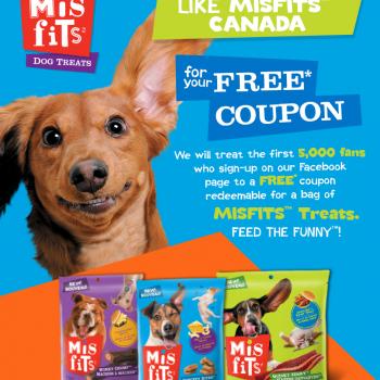 misfits 350x350 - GRATUIT: Obtenez un coupon de gratuité pour un sac de n'importe quel gâterie pour chien Misfits 150g-170g!