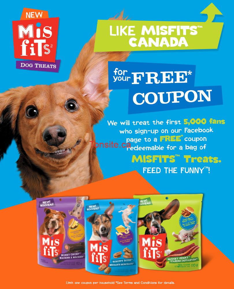 misfits - GRATUIT: Obtenez un coupon de gratuité pour un sac de n'importe quel gâterie pour chien Misfits 150g-170g!