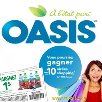 oasis1 350x350 - Concours Oasis: Gagnez 1 des 10 cartes de crédit prépayées d'une valeur de 1000$ + coupon rabais de 1$