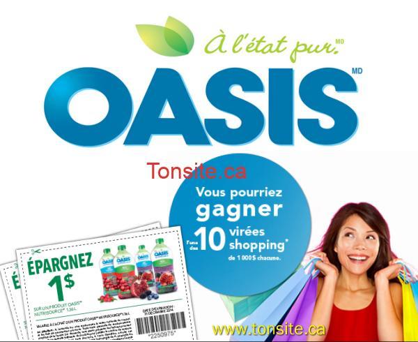 oasis1 - Concours Oasis: Gagnez 1 des 10 cartes de crédit prépayées d'une valeur de 1000$ + coupon rabais de 1$
