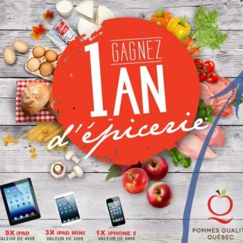 pommesquebec 350x350 - Concours Pommes Québec: Gagnez 1 an d'épicerie ou 1 des 9 produits Apple (iPad+iPad mini+iPhone)!