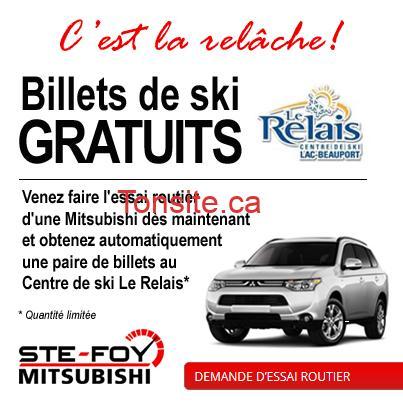 promo billets 1 - GRATUIT: Faire l'essai routier d'une nouvelle Mitsubishi chez Ste-Foy Mitsubishi et obtenez automatiquement une paire de billets de ski au Centre de ski Le Relais!