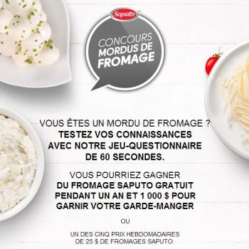 saputo 350x350 - Concours Saputo: Gagnez 1 an de fromages et 1000$ ou 1 des 25 prix hebdomadaires de 25$ de fromages Saputo!