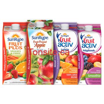 sr - Coupon imprimable (Achetez-en 1, obtenez-en 1 gratuit) sur 1 jus SunRype réfrigéré (1,75L)!