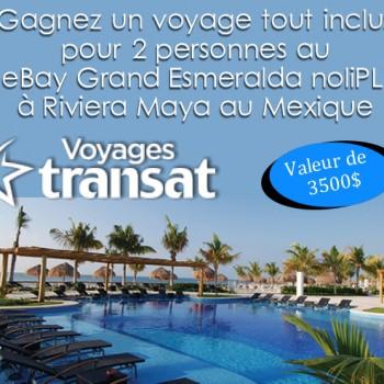 voyagestransat 350x350 - Concours Voyages Transat: Gagnez 1 des 3 voyages pour 2 personnes au BlueBay Grand Esmeralda noliPLUS à Riviera Maya au Mexique!