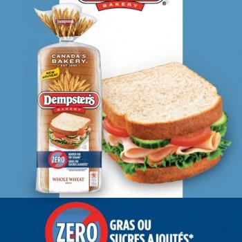 w43 dempsters 1 350x350 - Nouveau coupon rabais de 1$ sur le nouveau pain ZERO Dempster's!