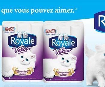 236 fr 350x289 - 8 rouleaux doubles de papier hygiènique Royale Velour à 1,99$ après coupon!