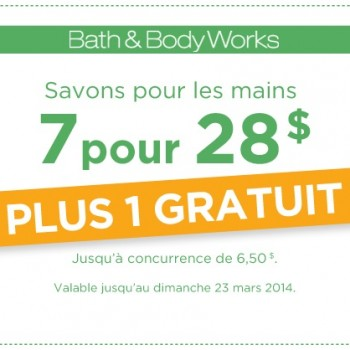 bath body works 350x350 - Coupon Bath and Body Works: Obtenez 7 savons pour les mains à 28$ + 1 gratuit