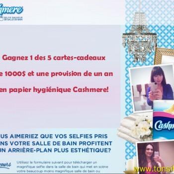 cashmere 1 350x350 - Concours Cashmere: Gagnez 1 des 5 cartes-cadeaux de 1000$ et une provision de un an en papier hygiénique Cashmere!