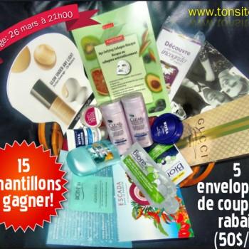 concours34 350x350 - Concours 33: Gagnez 15 échantillons ou 1 des 5 enveloppes de coupons rabais (valeur de 50$/ch)!