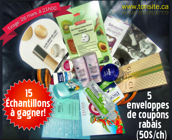 concours34 - Concours 33: Gagnez 15 échantillons ou 1 des 5 enveloppes de coupons rabais (valeur de 50$/ch)!