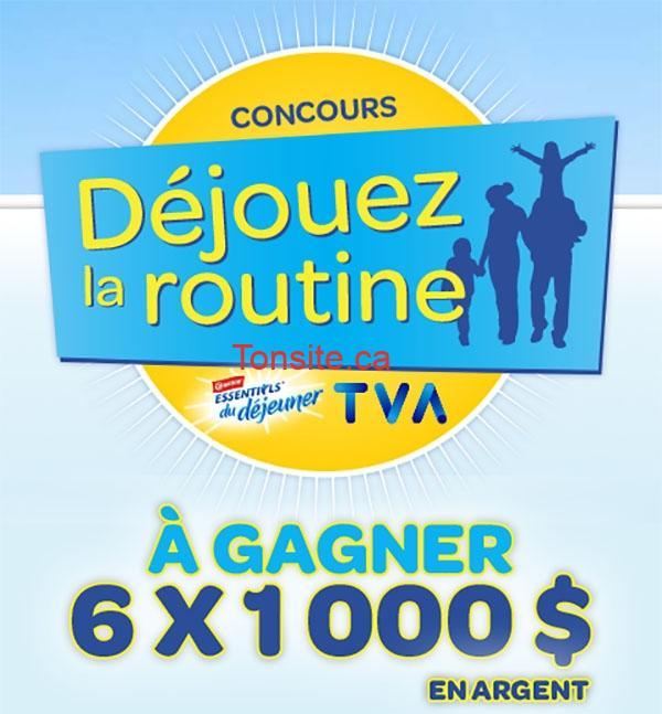 essentiels du déjeuner - Concours Nestlé Canada et TVA: Gagnez 1 des 6 chèques de 1000$ + coupon rabais de 2$ sur Essentiels du Déjeuner Carnation!