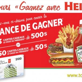 heinz concours 350x350 - Concours Heinz: Gagnez 1 des 3 cartes-cadeaux de 500 $ ou 1 des 50 cartes-cadeaux de 50 $!