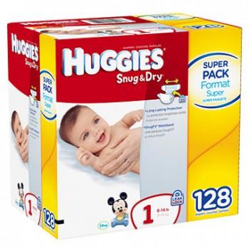 huggies snug and dry 128 350x350 - Couches Huggies Snug & Dry (64 à 128 unités) à 19,97$ après coupon!