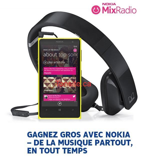 nokia11 - Concours Nokia: Gagnez un un Lumia 1020 de Nokia, des écouteurs stéréo HD Purity WH-930 et un abonnement d'un (1) mois à MixRadio