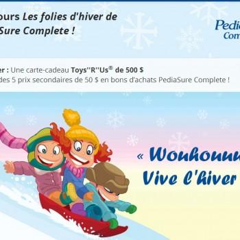 pediasure concours 350x350 - Concours PediaSure Complete: Gagnez une carte-cadeau Toys''R''Us de 500 $ ou un de 5 bons d'achats de 50$!