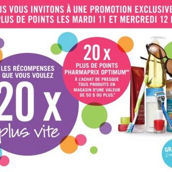 pharmaprix 11 12 3 350x350 - 11 et 12 mars: Promotion 20X plus de points Optium chez Pharmaprix!