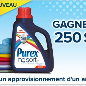 purex 350x350 - Concours Purex: Gagnez 250$ et un approvisionnement d'un an du nouveau détergent Purex No Sort pour Couleurs!