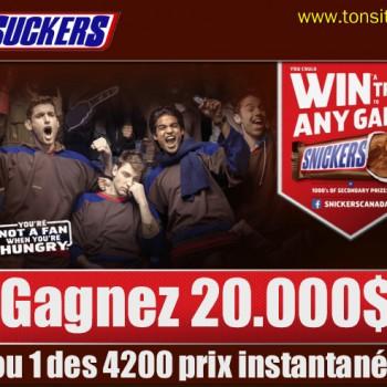 snickers 1 350x350 - Concours Snickers: Gagnez 20.000$ ou 1 des 4200 coupons gratuits instantanés!