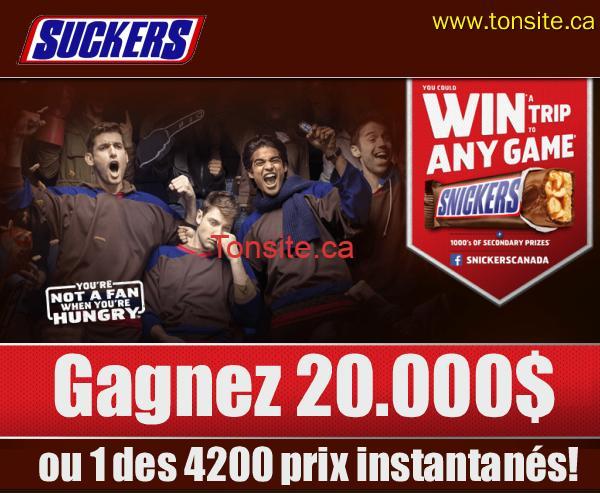 snickers 1 - Concours Snickers: Gagnez 20.000$ ou 1 des 4200 coupons gratuits instantanés!