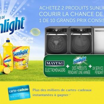 sunlight 350x350 - Concours Sunlight: Gagnez 1 des 10 grand prix ou 1 des milliers cartes-cadeaux instantanées!