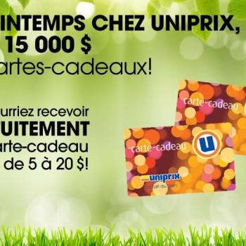 uniprix carte cadeaux 350x350 - Concours Uniprix: référez vos amis et recevez une carte-cadeau de 20$!