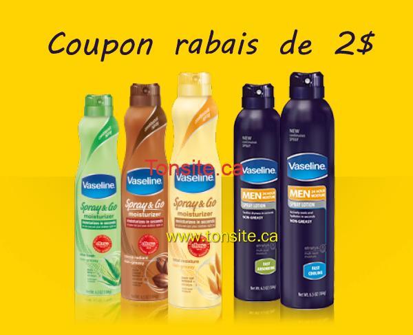 vaseline coupon - Coupon rabais de 2 $ sur tout hydratant Spray & Go Vaseline ou toute lotion en atomiseur Vaseline Men