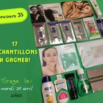 35 concours 350x350 - Concours 35: Participez et gagnez 17 échantillons gratuits ou 1 des 3 enveloppes de coupons rabais !