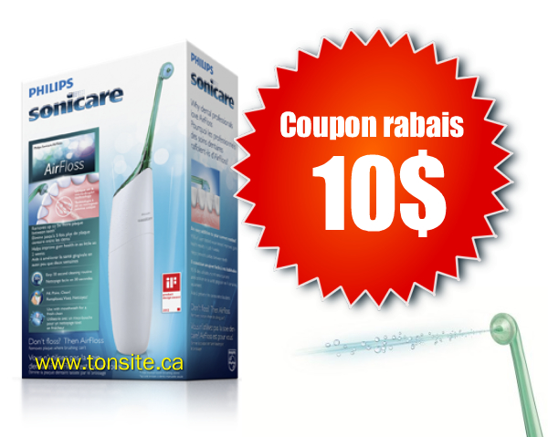 airfloss - Coupon rabais de 10$ une brosse à dents AirFloss de Philips Sonicare!