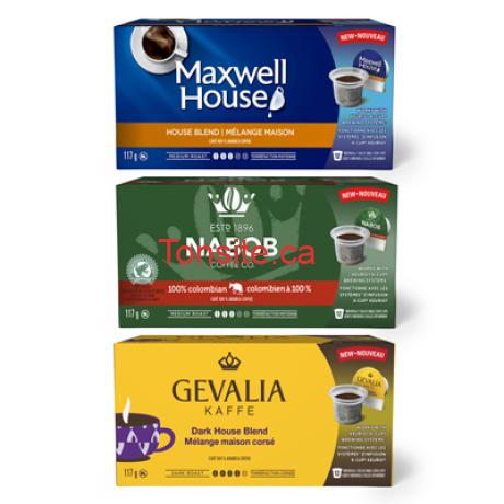 cafe rabais 2 - Coupon rabais de 2$ sur une boîte de godets individuels de café MAXWELL HOUSE, NABOB ou GEVALIA compatibles avec Keurig!