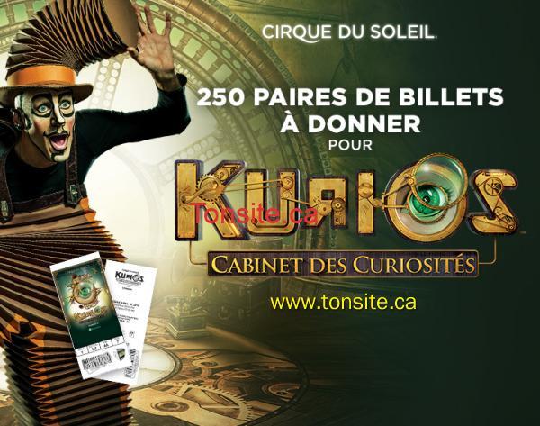 cirque soleil - Cirque du soleil: 250 paires de billets à donner pour <Kurios - Cabinet des curiosités>!
