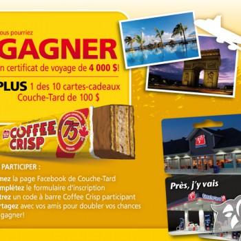coffe scrip concours 350x350 - Concours Coffee Crisp: Gagnez un certificat voyage de 4000$ ou l'une des 10 cartes-cadeaux Couche-Tard de 100$