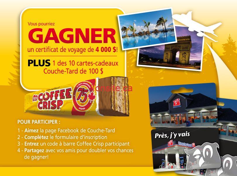 coffe scrip concours - Concours Coffee Crisp: Gagnez un certificat voyage de 4000$ ou l'une des 10 cartes-cadeaux Couche-Tard de 100$