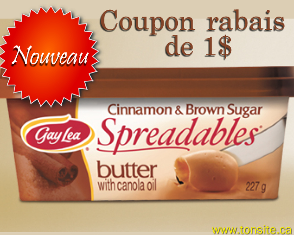 gaylea1 - Coupon rabais de 1$ sur Gay Lea Cannelle et cassonade à tartiner!