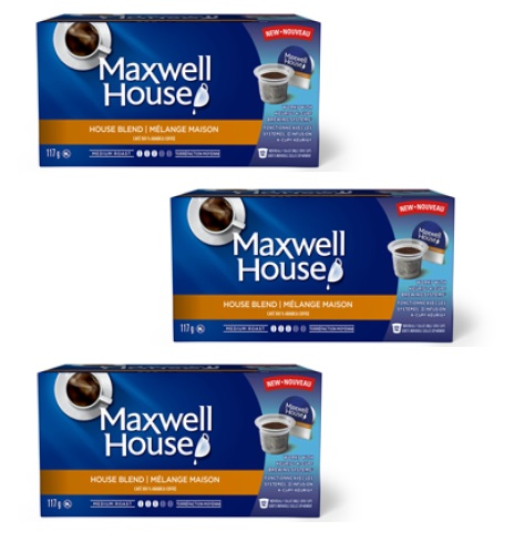godets max - Dosettes de café Maxwell House (paq. de 12) à 5,97$ après coupon!