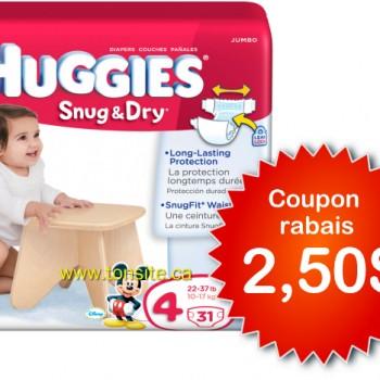 huggies 2 50 350x350 - Coupon rabais de 2,50$ sur un emballage de couches Huggies au choix!